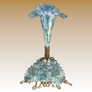 Bohemian Spatter Glass Epergne with Enameled Flower Decoration, Dore' Bronze Frame