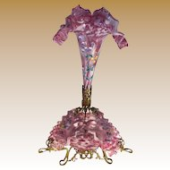 Pink Bohemian Spatter Glass Epergne with Enameled Flowers