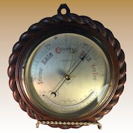 English Oak Rope Twist Ship Barometer with Curved Thermometer