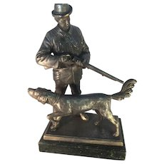 Metal  Statue of Tyrolean Hunter and Dog