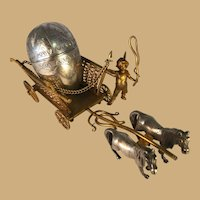 French Gilt Bronze Cart with Silver Plate Egg