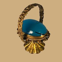 French Blue Opaline and Gilded Egg Casket