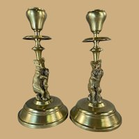 Pair Brass Bear Candlesticks