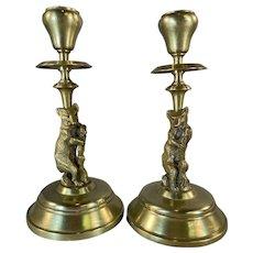 Pair Brass Bear Candlesticks