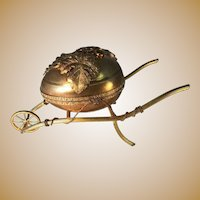 Napoleon lll Silver Gilt Sewing Set in Dore' Brass Egg Cart