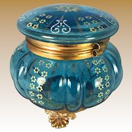 Victorian Blue Glass Dresser Jar