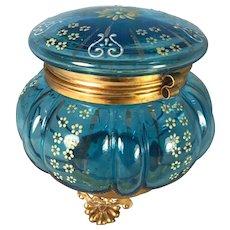 Victorian Blue Glass Dresser Jar