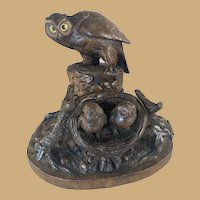 Black Forest Owl and Chick Inkwell/Inkstand