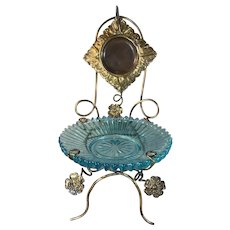 Victorian Glass and Gilded Brass Pocket Watch Holder