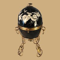 French Black Enameled Egg Casket
