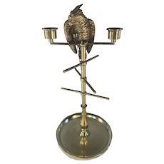 Brass Parrot Bobbin Stand and Thimble Holder and Candle Holders