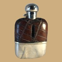 English Sterling and Crocodile Whisky Flask - Chester 1927