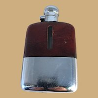 English Chrome Plate and Leather Whisky Flask