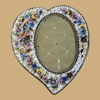 Italian Micro Mosaic Photo Frame - Heart Shaped.