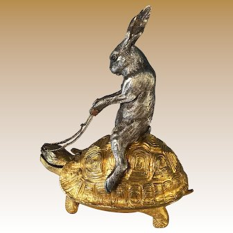 French Hare Riding a Gilded Bronze Tortoise Box - Original Gilt