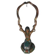 Egyptian Girl Snake Charmer Pocket Watch Holder