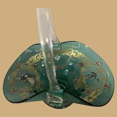 Venetian Glass Basket - Hand Blown and Enameled