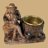 Black Forest Dog and Flask Figure with Brass Dish