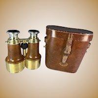 World War I Officers Binoculars in Leather Case -Heath Co. London