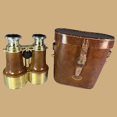 World War I Officers Binoculars in Leather Case -Heath Co. London
