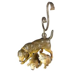 Mother Dog and Puppies Pocket Watch Holder