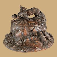 Black Forest Box with Mother Fox and Kits with Game Bird