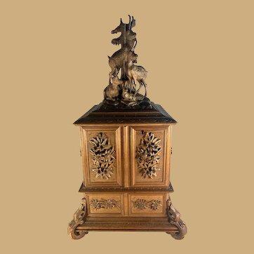 Black Forest Jewelry Box with Bird Decoration