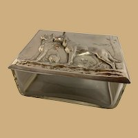 Crystal Box with WMF Silver Plated Dog Lid
