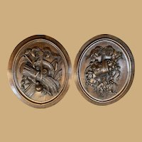 Pair of Black Forest Plaques - Wine and Wheat Motif