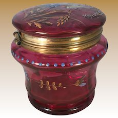 Victorian Cranberry Glass Dresser Jar