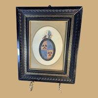 Hand Painted Heraldic Plaque in Frame