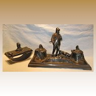 Hunter and Dog Inkstand and Blotter