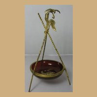 French Gilt Brass and Ruby Glass Pocket Watch Holder