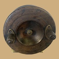English Starback Wooden and Brass Fishing Reel