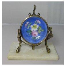 French Gilded Brass and Porcelain Pocket Watch Holder with Alabaster Base