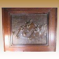 Bronze Horse Plaque - Horses at a Watering Trough