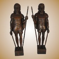 Pair of Black Forest Heraldic Figures