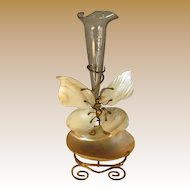 French Mother of Pearl Pocket Watch Holder with Butterfly and Epergne