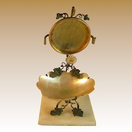 French Mother of Pearl Pocket Watch Holder with Painted Accents