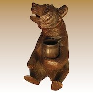 Black Forest Musical Bear Humidor with Match Holder
