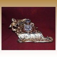 German Gilt Brass Inkwell with Crerub Decoration