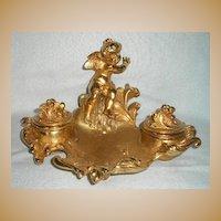 French Gilded Cherub Inkwell