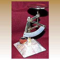 Brass Quadrant Scale with Mother-of-Pearl Base