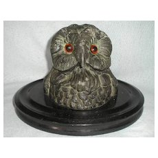 Painted Metal Owl Inkwell on Wooden Base