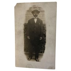 Real Photo Post Card Black Man with Hat NOKO