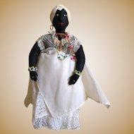 Beautiful Black Brazilian Bahai doll with quail nails  14 inches  (36cm)
