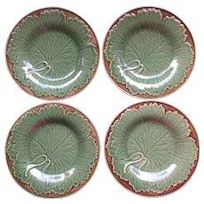Bordallo Pinheiro Majolica Set of 4 Salad Plates Green And Brown With Grape Leaves