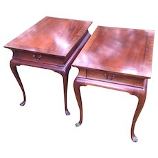 HOLD Pair of Vintage Hickory Chair Queen Anne Solid Mahogany Side / End Tables With Inlay and Burl Mahogany