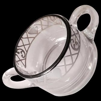 Heisey Silver Plate Hearts Overlay Crystal Sugar Bowl