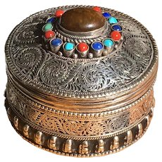 Vintage Asian Metal Filigree Trinket Box Set With Semiprecious Stones